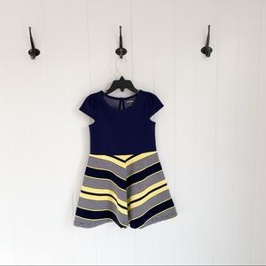 🌸 Gymboree Navy Yellow Chevron Dress